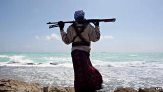 A Somali pirate on the coast of northwestern Somali photographed in 2010