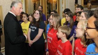 Prince Charles meets members of WNO's Singing Club - photo by Paul Burns