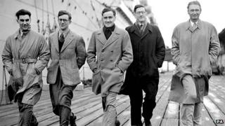 Mike Westmacott (second from left) with other members of the Everest expedition team, before they left Tilbury on the liner Stratheden on their journey to the Himalayas