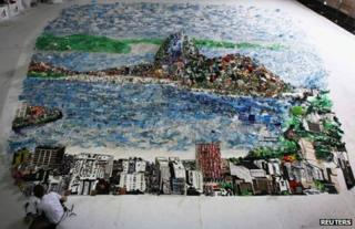 Mural of Rio made from recycled rubbish