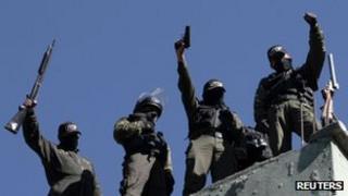 Striking police officers in La Paz on 23 June 2012