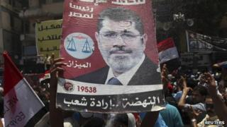 Mohammed Mursi supporters continue their celebrations in Cairo, 25 June