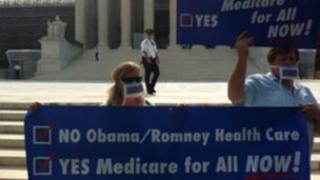 Protesters outside the US Supreme Court, Washington DC 25 June 2012
