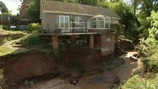 Flood damage at Ray and Diann Scriven's house