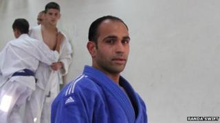 Palestinian judoka Maher Abul Rmelleh at a martial arts studio in east Jerusalem