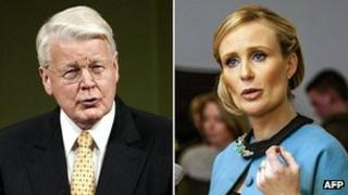 Icelandic President Olafur Ragnar Grimsson pictured with election challenger, Thora Arnorsdottir (file picture)