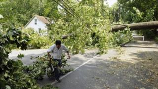 A worker clears debris from a large downed tree in Falls Church, Virginia, 1 July 2012