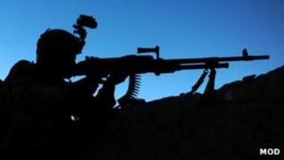 British soldier in shadow