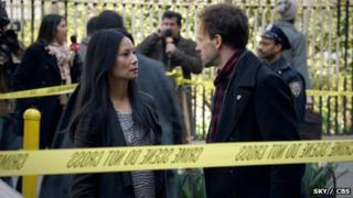 Lucy Liu and Jonny Lee Miller in Elementary