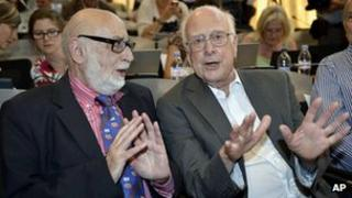 Belgian physicist Francois Englert, left, and British physicist Peter Higgs