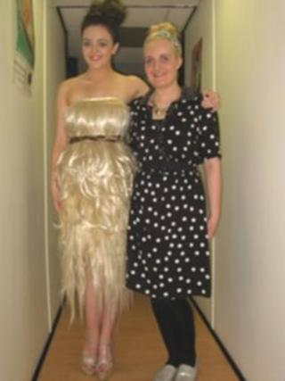 The dress is made out of human hair by Sunderland hairdresser, Jodie Breeds