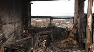 Burnt out flat at Shirley Towers in 2010