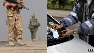 British soldiers and traffic warden