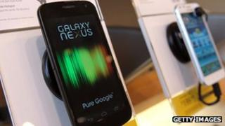 Samsung Galaxy Nexus smartphone on display