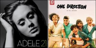 Covers for Adele's 21 and One Directions Up All Night