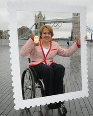 Tanni Grey-Thompson, 11 time Paralympic Gold medallist poses with her gold medal