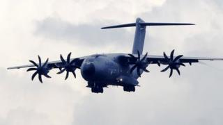 Airbus A400M flying towards the Farnborough Airshow