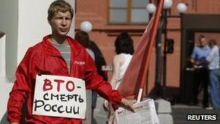 Protester against WTO membership