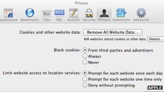 Safari browser preferences screenshot