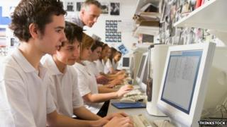 School children using computers
