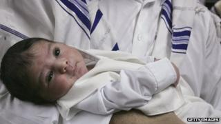 Jewish baby in man's arms