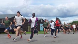 Athletes training at Imjin Barracks, Gloucester