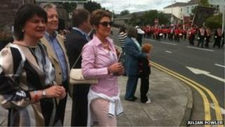 Arlene Foster, Peter Robinson and Iris Robinson in attendance at a parade