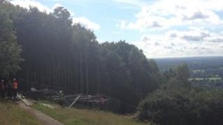 Scaffolding on Box Hill