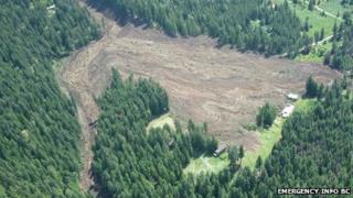 A photo of the Johnson's Landing landslide