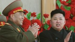 North Korean leader Kim Jong-Un (R) with army chief Ri Yong-ho during a military parade, 16 February 2012