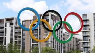 Olympic rings near Olympic Village
