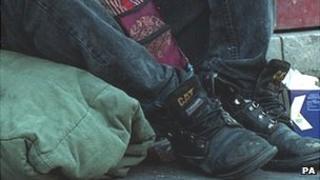 Begging in city street (generic)
