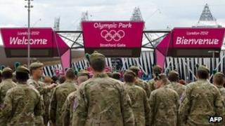 Soldiers outside the Olympic Park in Stratford