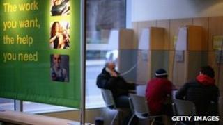 jobseekers at a UK job centre