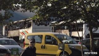 Damaged buses at Burgas airport