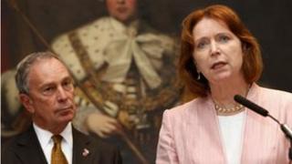 BBA chief executive Angela Knight with New York mayor, Michael Bloomberg