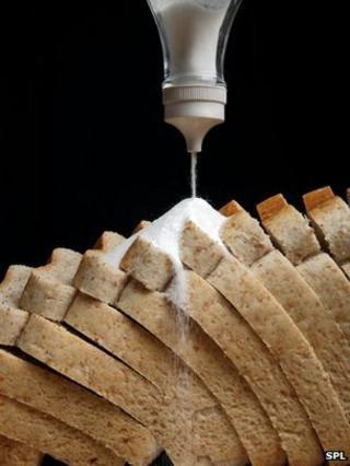 Salt on bread