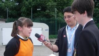 School Reporters interviewing Laura Crane