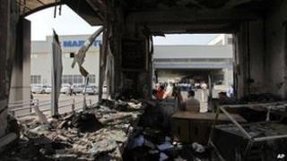 A burnt-out reception block at the Maruti Suzuki factory near New Delhi on 19 July 2012