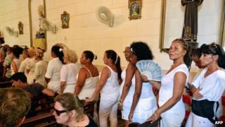 Members of the Ladies in White at the San Salvador Church in Havana