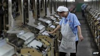 A Chinese worker in a factory in Jinjiang