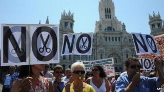 Anti-austerity protest in Madrid, 24 Jul 12