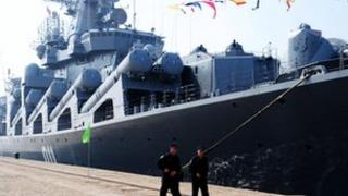 Russian destroyer Admiral Vinogradov seen in the Chinese port of Qingdao on 23 April 2012, ahead of Chinese-Russian naval exercises (file picture)
