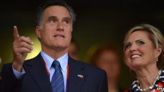 Mitt Romney and his wife Ann at the opening ceremony of 2012 Olympic Games in London on 27 July 2012