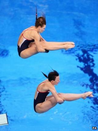 Alicia Blagg (top) with her diving partner Rebecca Gallantree