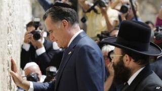 Mitt Romney at the Western Wall in Jerusalem on 29 July 2012