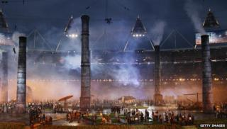 A scene from the Olympic opening ceremony