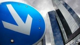 Road sign outside Deutsche Bank's headquarters in Frankfurt
