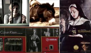 From top left, clockwise: Barnardo's advert, Brooke hospital, ice-cream advert, underwear advert on London bus