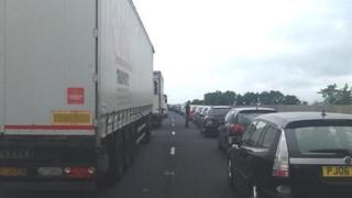 Traffic queuing on the A55